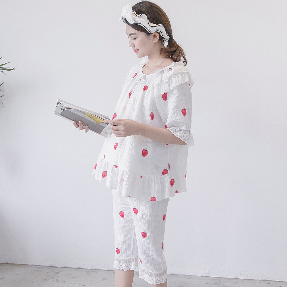 Nursing Pajamas Maternity Nightwear Breastfeeding Sleepwear Double Gauze Cotton Maternity Clothes Short-Sleeved Shorts Set A186