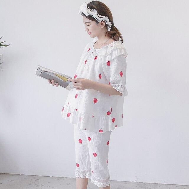 fdfe0a55f07f1 Nursing Pajamas Maternity Nightwear Breastfeeding Sleepwear Double Gauze Cotton  Maternity Clothes Short-Sleeved Shorts Set A186