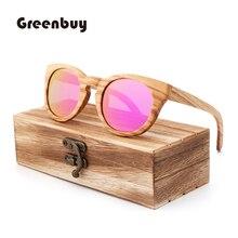 Brown 100% pure zebra wood  sunglasses polarized women bamboo UV400 Retro oculos de sol feminino