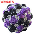 100% Handmade Purple Black Diamond Wedding Bouquet Satin Ribbon Artificial Silk Roses Flower Bridal Stitch Wedding Bouquet W224