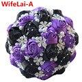 100% hecho a mano púrpura black diamond wedding bouquet cinta de raso rosas de seda artificial ramo de la boda nupcial de la flor puntada w224