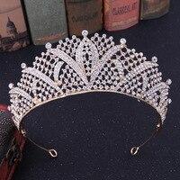 2019 New 5 Colors Bridal Crowns Tiaras Luxury Crystal Bride Hairband Headwear Fashion Princess Crown Wedding Hair Accessories