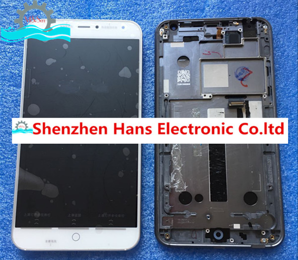 Original tested LCD screen display+touch panel digitizer with frame For 5.36'' Meizu MX4 black/ white free shipping