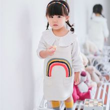 Free Shipping New Lovely Baby Girl Kids Children Clothing rainbow pocket button Vest Knitting Mini Party Dress Outfits