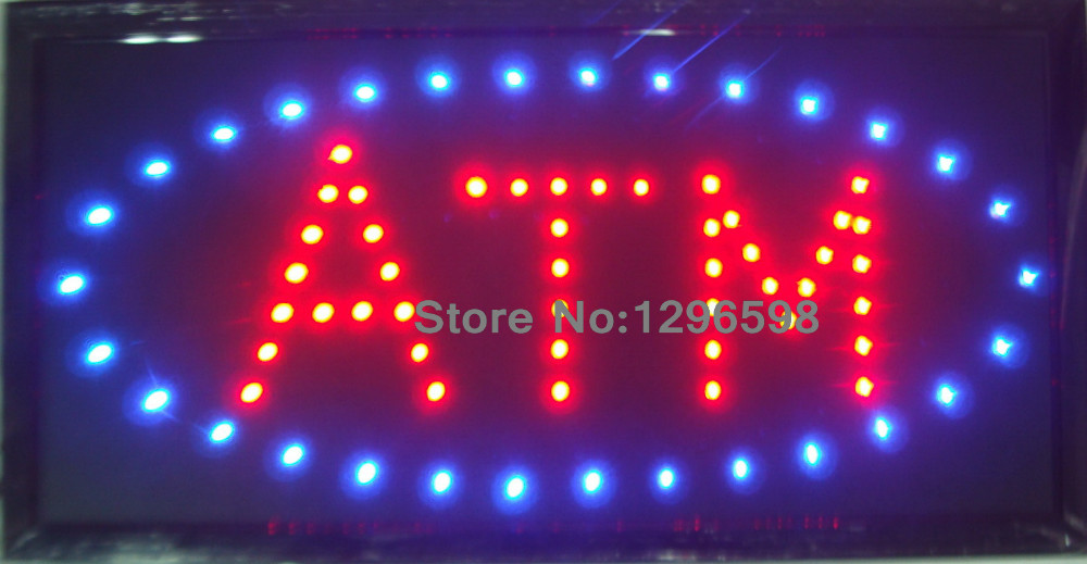 2017 LED ATM neon sign hot sale custom led sign 10x19 Inch Semi-outdoor Ultra Bright running ATM display
