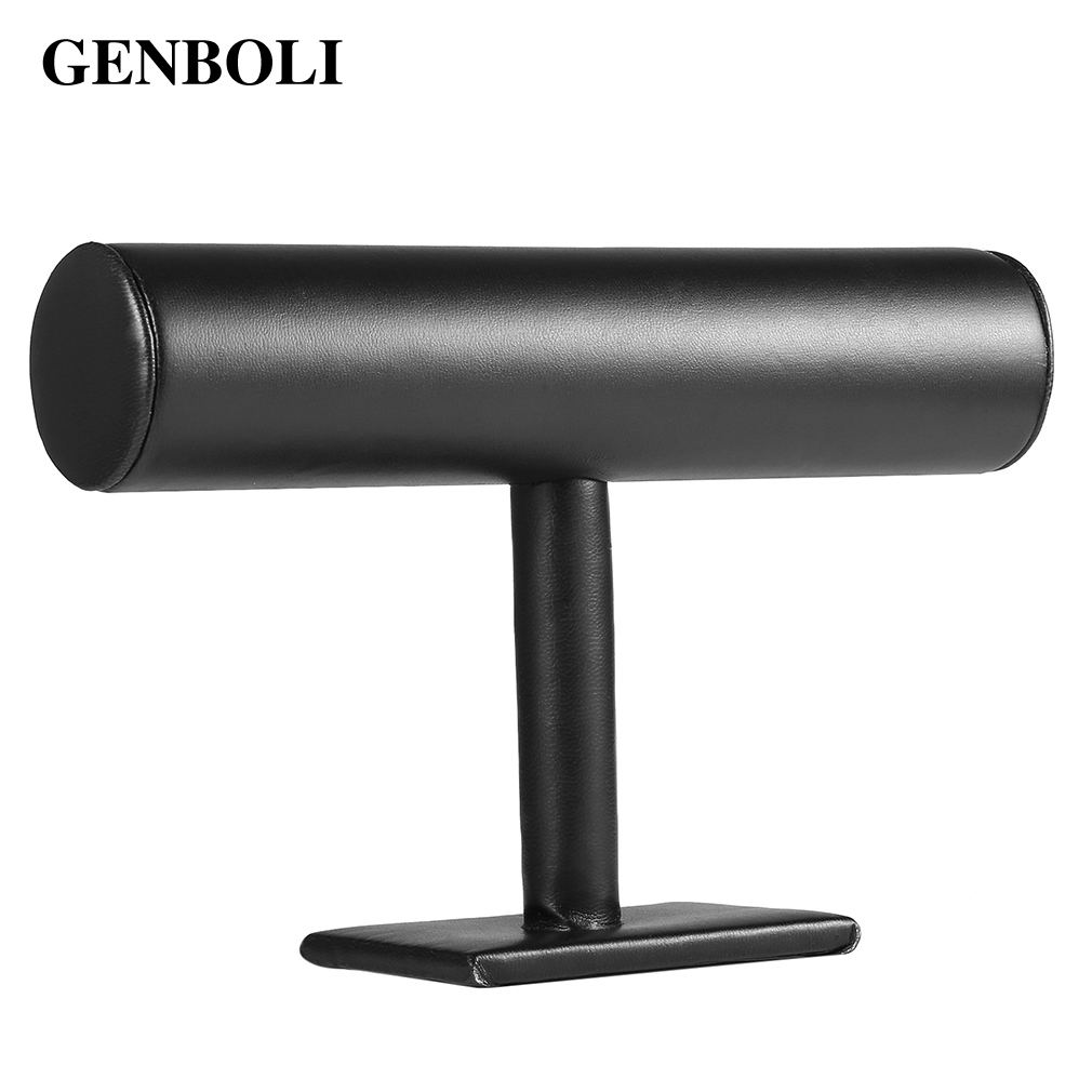 GENBOLI Portable T-bar Rack Watch Holder PU Leather Jewelry Organizer Stand Holder For Bracelet Necklace Jewelry Display