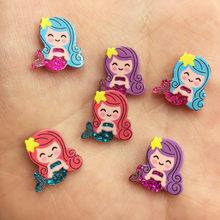 25PCS Acrylic cute Paillette mini Mermaid Flatback scrapbook crafts Ornaments home decoration accessories SW35
