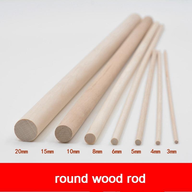 5pcs DIY Handmade Sand Plate Building Model Material White Birch Wood Cylindrical Log Stick Round Rod Original Color