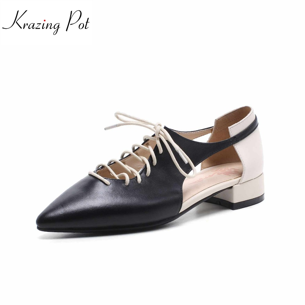 Krazing pot 2018 genuine leather brand hollow med heels woman pumps pointed toe lace up wedding simple style spring shoes L21 krazing pot 2018 cow leather simple design breathable high heels hollow women pumps round toe brown white color brand shoes l92
