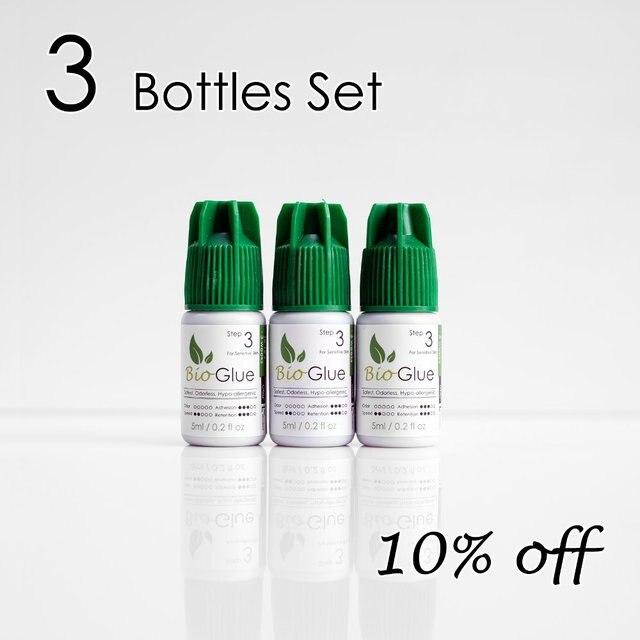 [3 Set] 5 ml colle dextension de cils hypoallergénique Mia Bio pour peaux sensibles 100% sans odeur.
