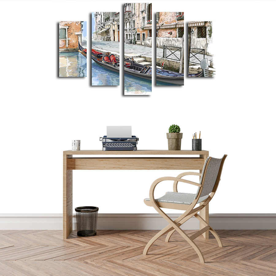 Shinehome الطباعة على قماش النفط الطلاء 5 أجزاء مع الإطار ل معيشة متجر حوض نهر بناء جدار خلفية الجدران ديكور