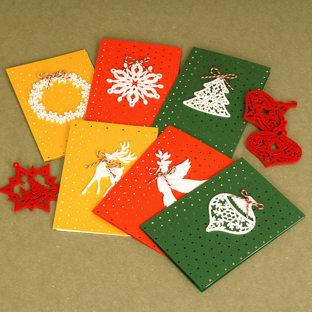 6pcs Set Felt Decorated Birthday Cards And Envelopes Invitations Christmas Postcards Greeting