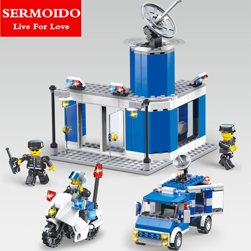 SERMOIDO City Fire Police Station Building Block Compatible With Self-Locking Bricks Hot Sale Educational Toys Kids Gifts B13 loz mini diamond block world famous architecture financial center swfc shangha china city nanoblock model brick educational toys