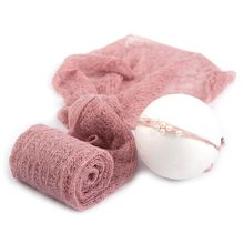 2 Pcs/set Baby Photography Props Blanket Wraps Stretch Knit Wrap Photo Newborn Cloth Accessories Headdress hair accessories