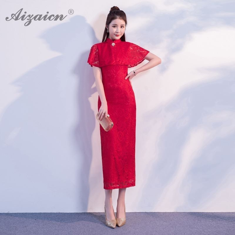 Spring New Fashion Lace Shawl Cheongsam Modern Long Evening Gown Qi Pao Red Chinese Traditional Dress Qipao Party Dresses Robe