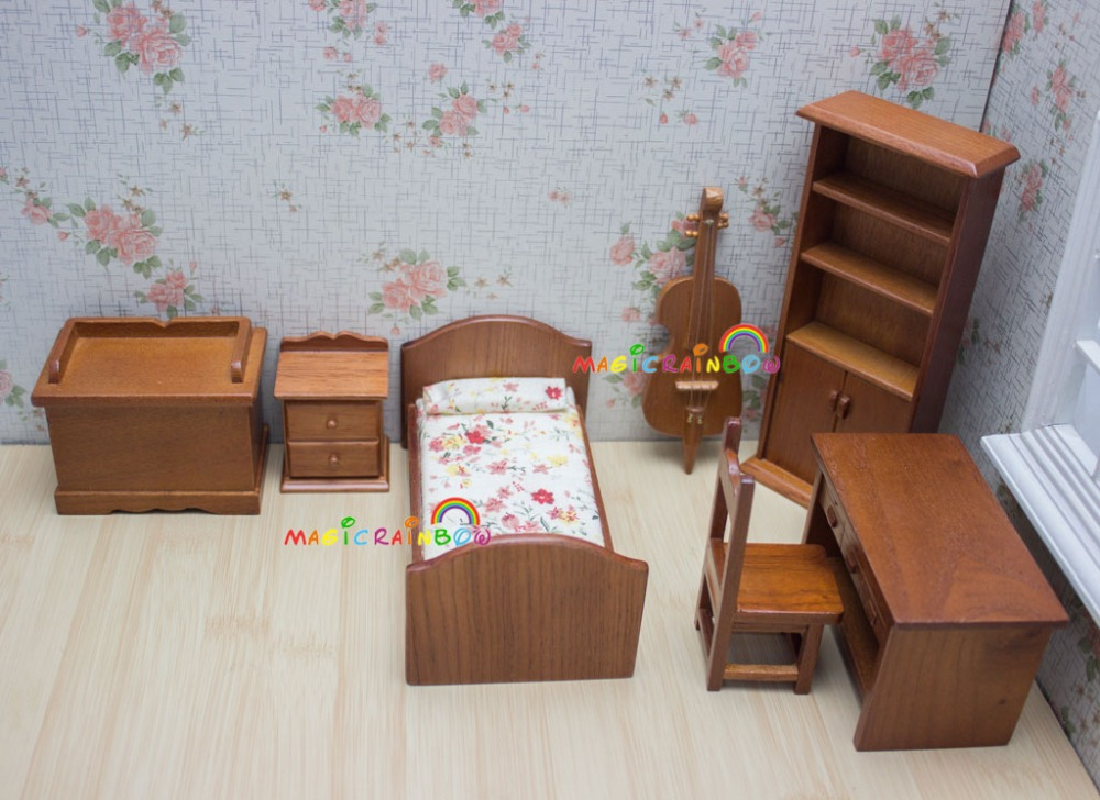 1:12 Dollhouse Miniature Doll Furniture Room Bed Wooden Drawer Cabinet Desk