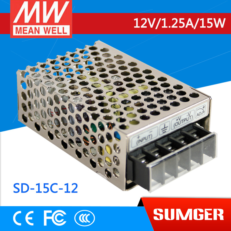 ФОТО [Freeshiping 2Pcs] MEAN WELL original SD-15C-12 12V 1.25A meanwell SD-15 12V 15W Single Output DC-DC Converter