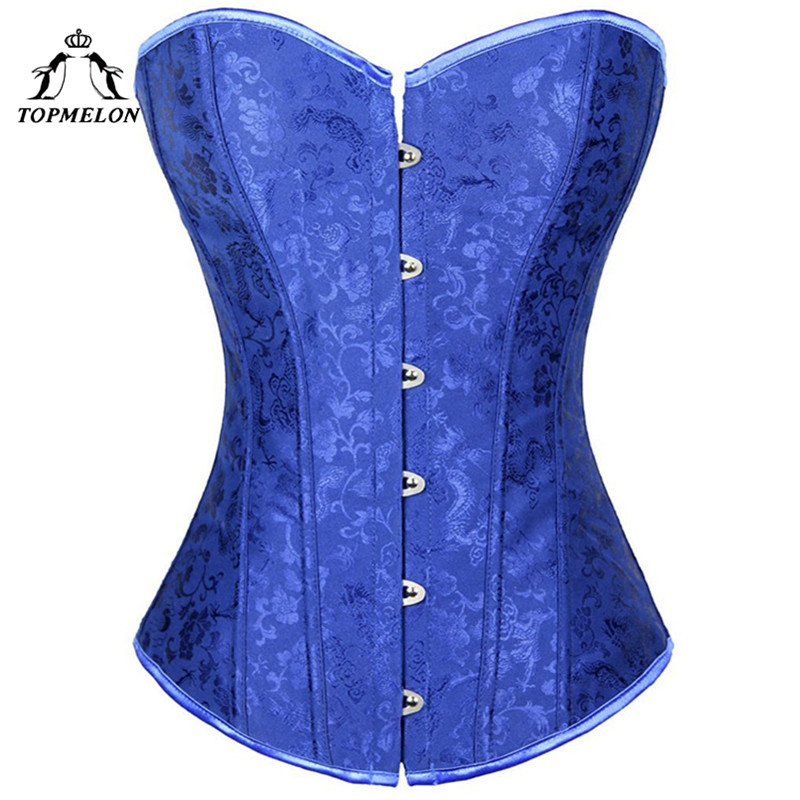 TOPMELON   Bustier   Sexy   Corset   Women Steampunk Gothic Corselet   Corsets   and   Bustiers   Blue Floral Lace Up Party Shows   Corset   Tops
