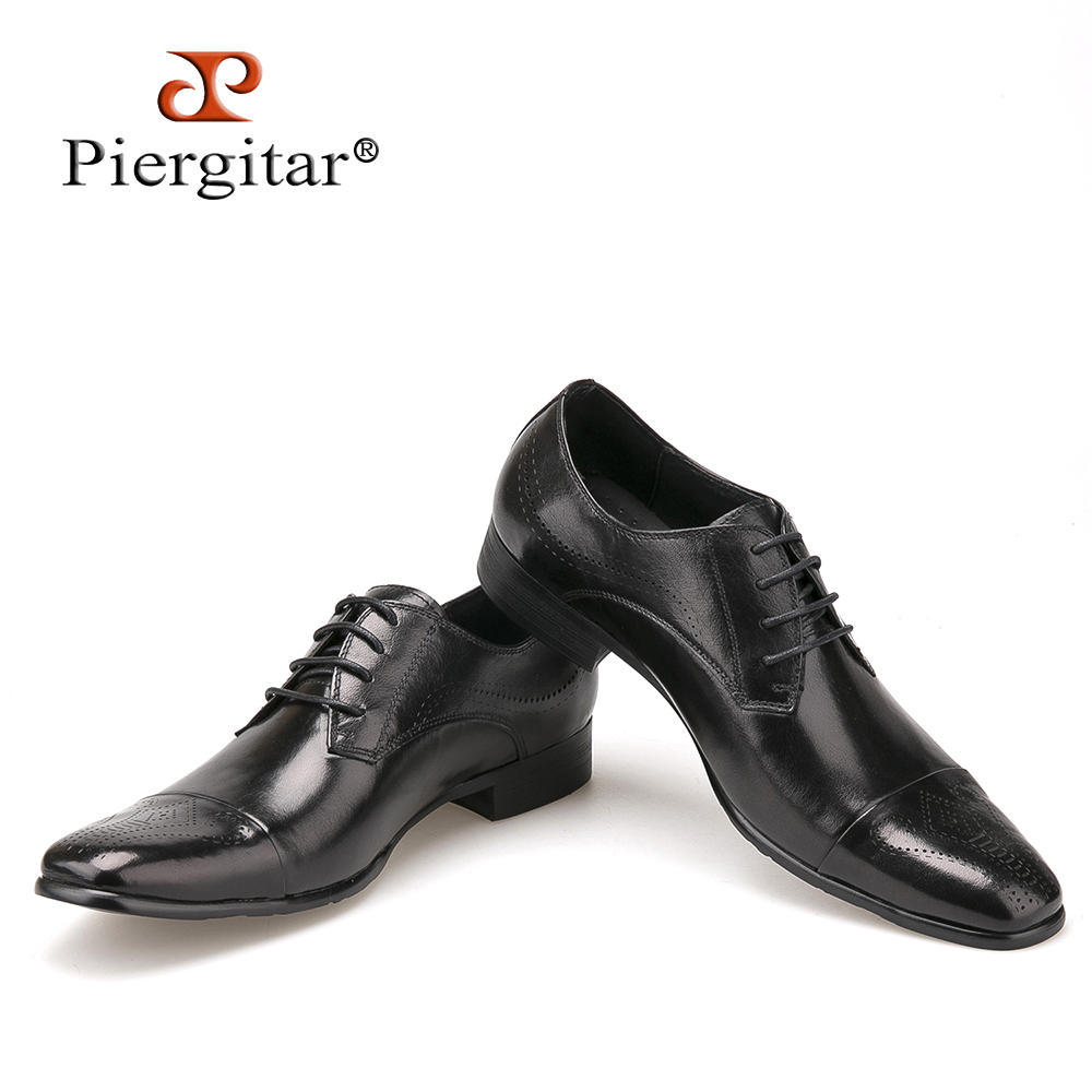 Fashion High Quality Genuine Leather Shoes Men Lace-Up Business Men Shoes British Style Pointed Toe Brogue shoe Men Dress Shoes