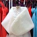 Mujer Blanca de piel Falsa de Abrigo Para El Invierno Elegante de La Boda de Piel Del Cabo