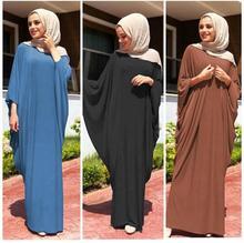 두바이 이슬람 여성기도 드레스 batwing 슬리브 abaya jilbab 아랍 로브 맥시 칵테일 느슨한 kaftan 이슬람 긴 가운 중동