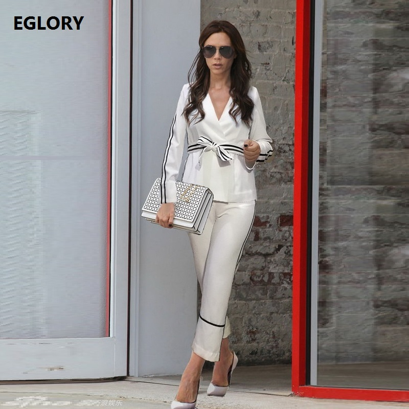 New Celebrity Inspired Women Pants Set 2018 Spring Ladies V-Neck Striped Belts Tops Blouses+Skinny White Pants &Capris Suit 2 pc inc new solid white women s size 0 knitted capris cropped pants $59 056
