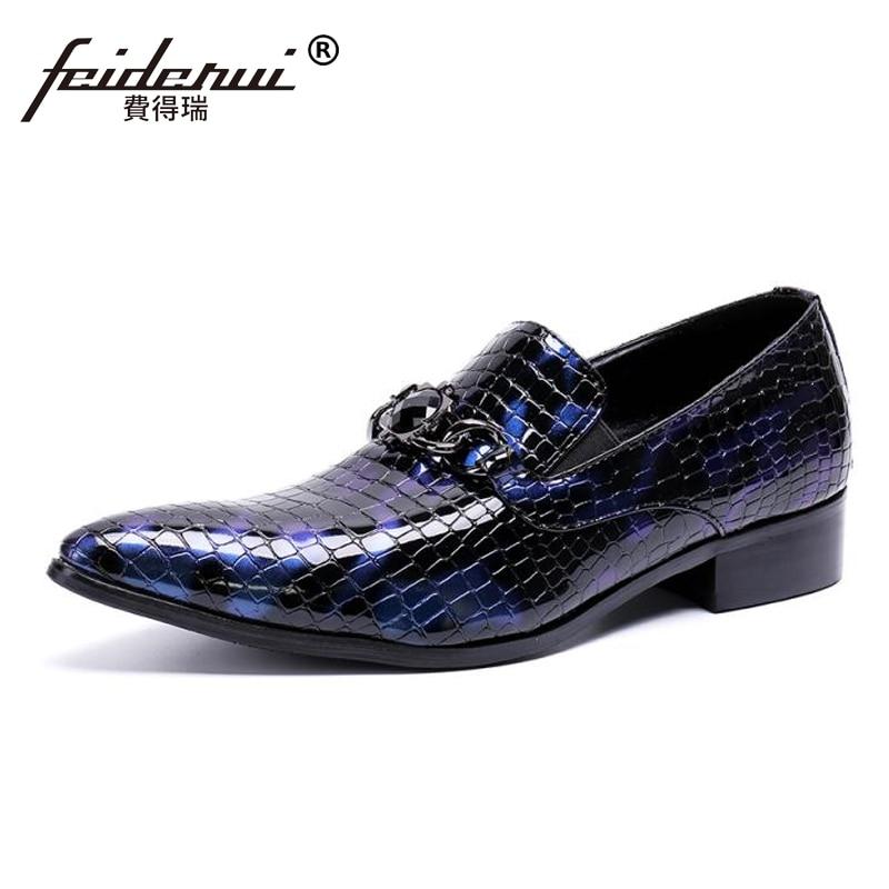 Plus Size New Luxury Alligator Patent Leather Man Wedding Loafers Pointed Toe Slip on Handmade Men
