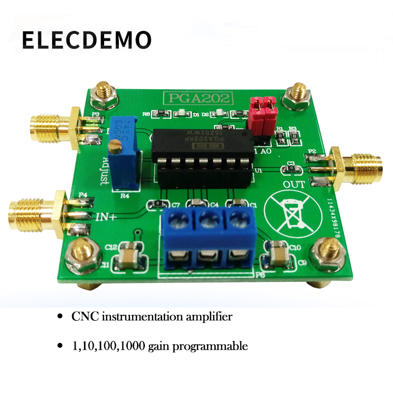 PGA202 digital instrumentation amplifier digital programmable gain data acquisition automatic adjustment circuit-in Demo Board Accessories from Computer & Office