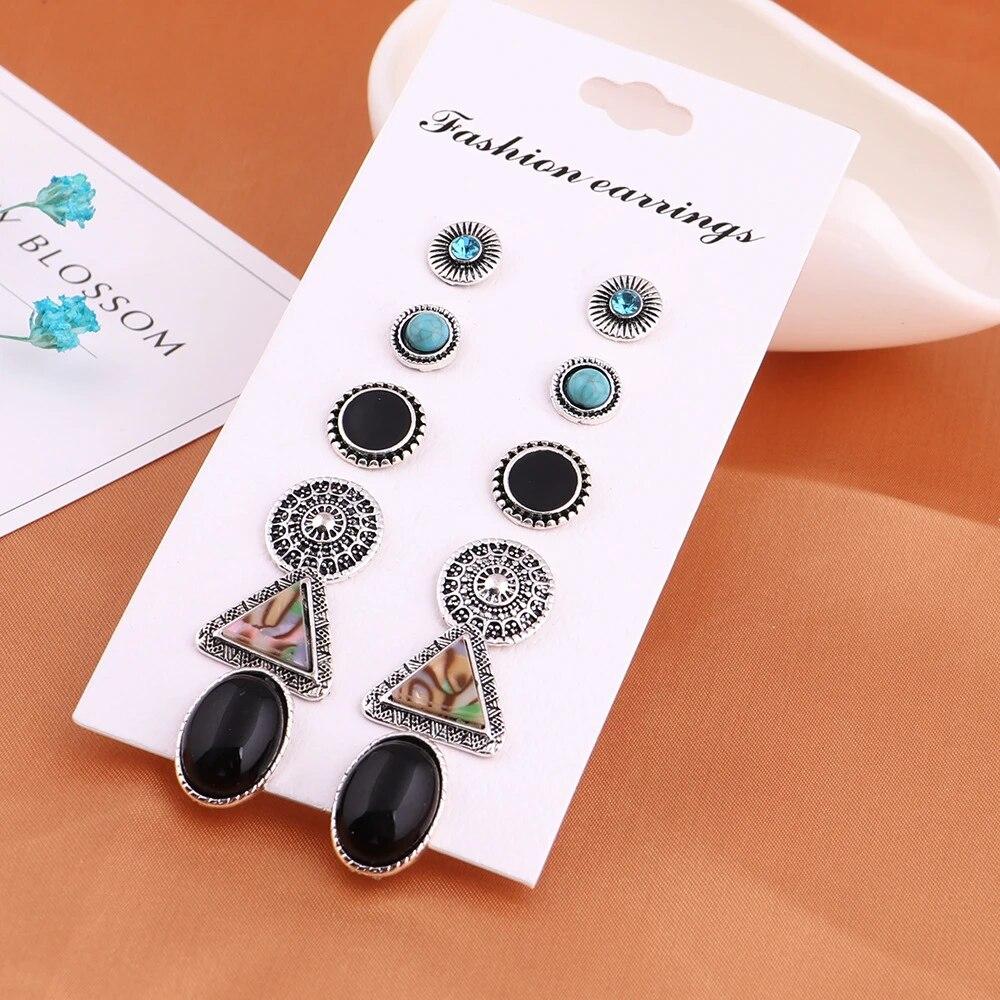 6Pairs//Set Flower Geometry Crystal Dangle Stud Earrings Set Mixed Style Jewelry