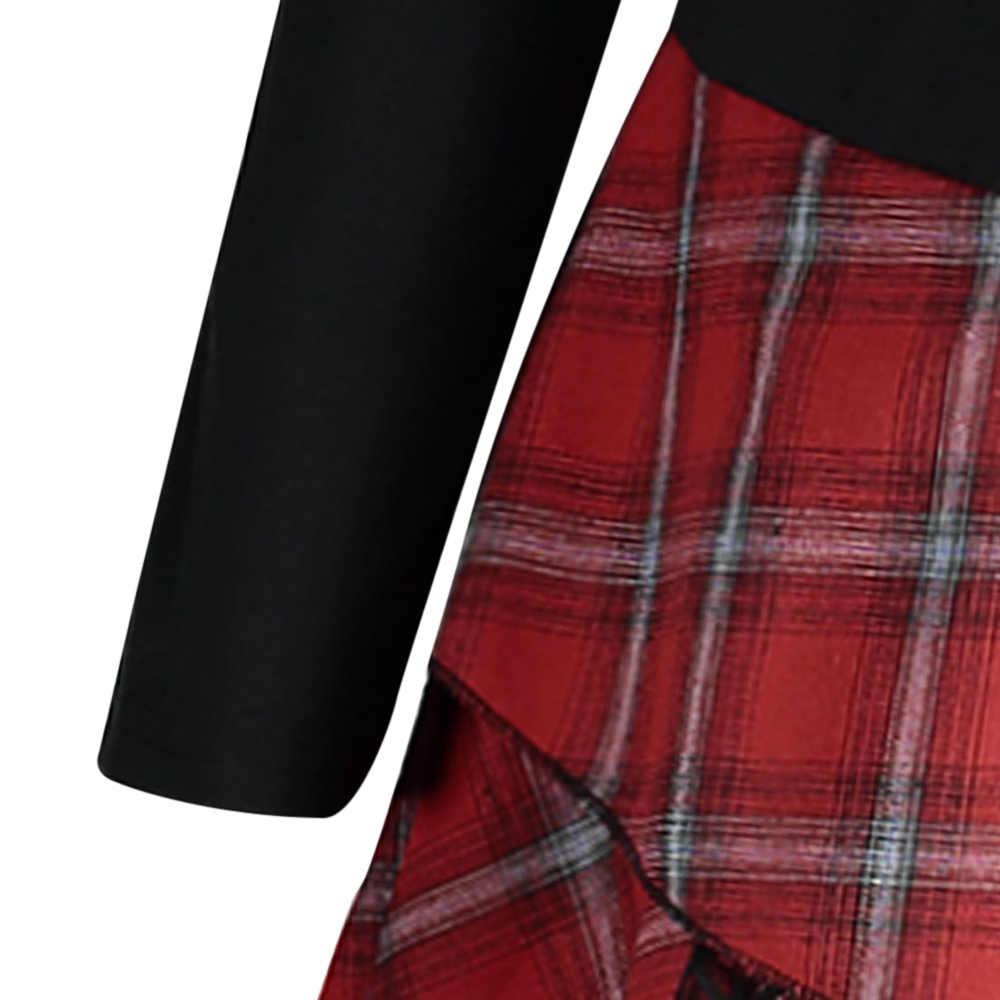 Rosegal, размера плюс, клетчатое кружевное женское платье, повседневное, прямое, стоячий воротник, длинный рукав, платье для женщин, Vestido, 2018, осенние платья