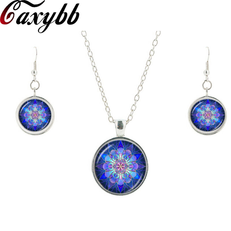 Charm Blue flower glass necklace earring jewelry sets Mandala drop earring pendant summer necklace collares Jewelry sets CS5