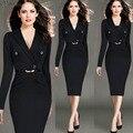 2016 новое прибытие женщин dress Зубчатый длинным рукавом твердые женский мода slim office Work dress с поясом плюс размер