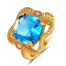 Gold rings 2 Ct Aquamarine for women gemstone ring Round Cut Cubic Zirconia Gold Color Engagement Fashion Jewelry free shipping caimao 18kt 750 white gold 2 15 ct natural if blue tanzanite aaa 0 31 ct full cut diamond engagement gemstone ring jewelry