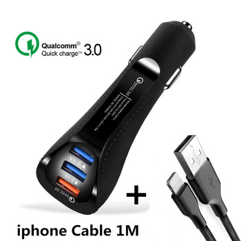 20 PCS Quick Charge 3.0 Dual USB Car Charger 3 Ports 3.1A + Type-C USB Cable Fast Charger Adapter For Samsung Xiaomi iPhone