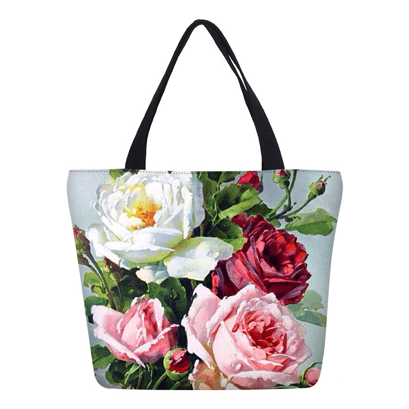 Hynes Eagle Brand Designer Flowers Prints Ladies Canvas Handbags Female Shopping Tote Fashion Women Portable Shoulder Bags Lady