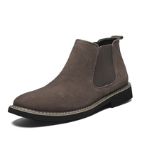 Men's Ankle Chelsea Boot Formal Dress Casual Suede Leather Chukka Boots Male Slip Ons Motorcycle Man Warm Fashion Brand