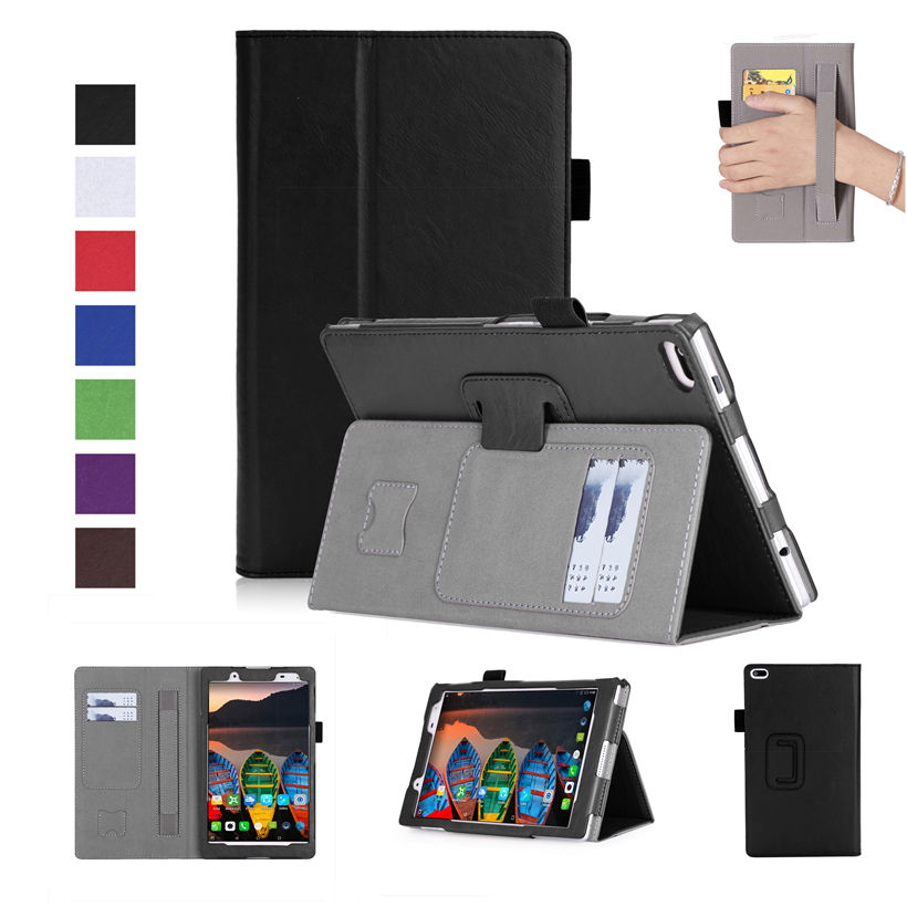 High Qualtiy Case For Lenovo Tab4 8 TB-8504F TB-8504N 8 Cover Funda Tablet PU Leather Hand Holder Protective Shell+Film+Pen magnetic stand smart pu leather cover for lenovo tab 4 8 tb 8504f 8504n 8 0 tablet funda case free screen protector stylus pen
