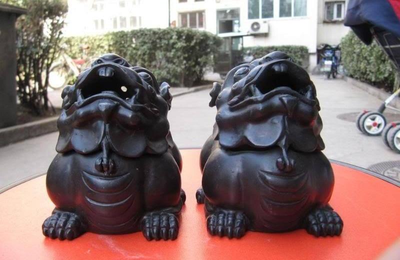 Chinese Regius Pure Bronze Carved Fu Foo Dog Lion Censer Incense Burner