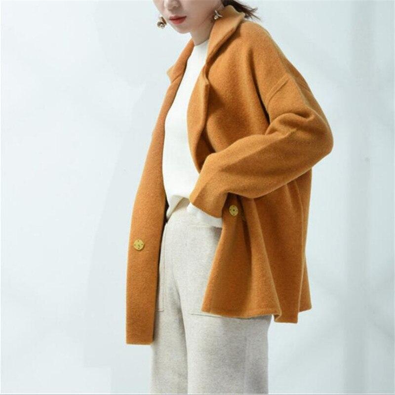 ショートカーディガン 2018 秋の新女性の自己デザインマスタード黄色カーディガンターンダウン襟ウサギの毛オーバーサイズセータージャンパー  グループ上の レディース衣服 からの カーディガン の中 1