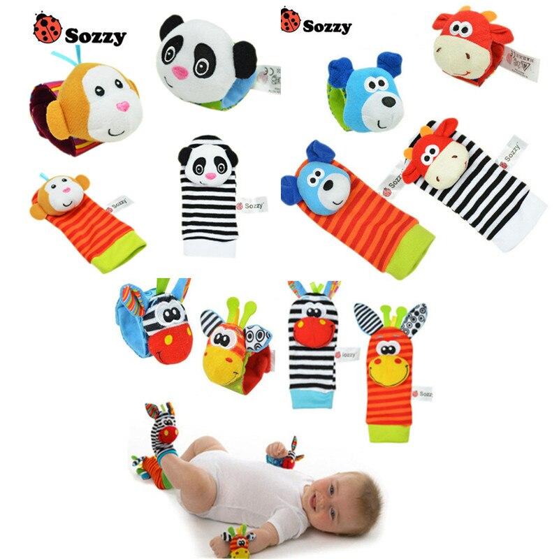 SOZZY Детские Погремушки Игрушки Животных Носки Ремешок на Запястье Погремушки, Мягкие Детские Носки Ног Ошибка Запястье Ремешок игрушки для новорожденных игрушки для младенцев Погремушки для младенцев