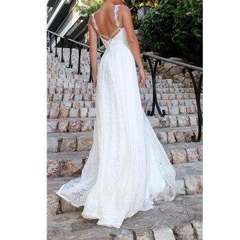 Vestido largo de encaje sin espalda, vestido de fiesta blanco de playa...