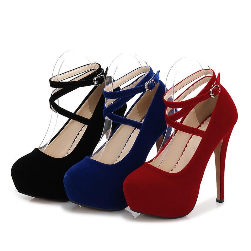 2018 donne sexy delle pompe inferiori tacchi alti pattini della piattaforma delle signore scarpe da sposa scarpe da sposa chaussure femme talon 35-46 14 cm tacchi MC-45