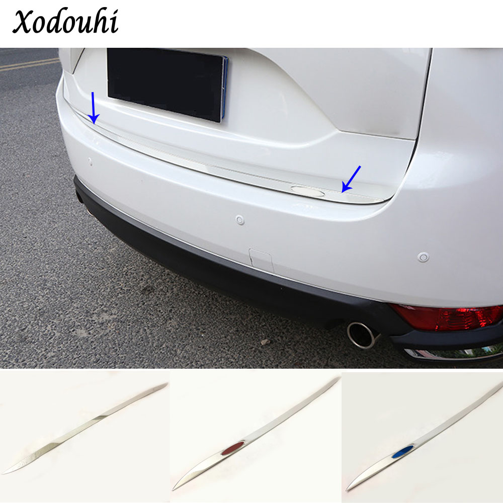 Car Stick styling body stainless steel Rear door tailgate frame plate trim lamp 1pcs hood For Mazda CX-5 CX5 2nd Gen 2017 2018 for mazda cx 5 cx5 2017 2018 kf 2nd gen car co pilot copilot stroage glove box handle frame cover stickers car styling