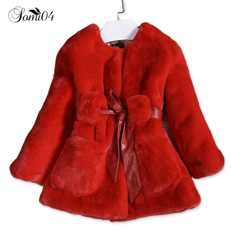 2018 New Luxury Faux Fur Coats Fashion Winter Jacket for Girls Baby Clothes Parka Elegant Clothing Little Girl Outerwear Coat 2017 new high quality big fur collar women long winter cotton padded coats female warm jacket large size parka outerwear qh0882