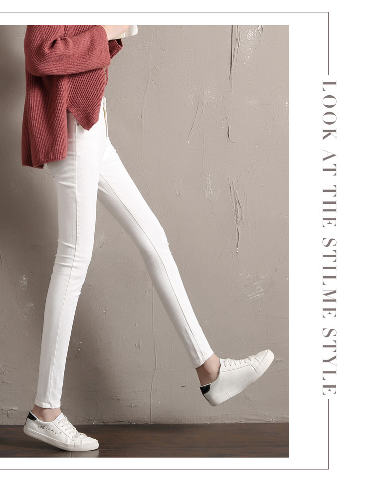 LYJMTDBK Women's white trousers pencil pants 19 spring and autumn button pocket pants women's high waist elastic feet pants 7