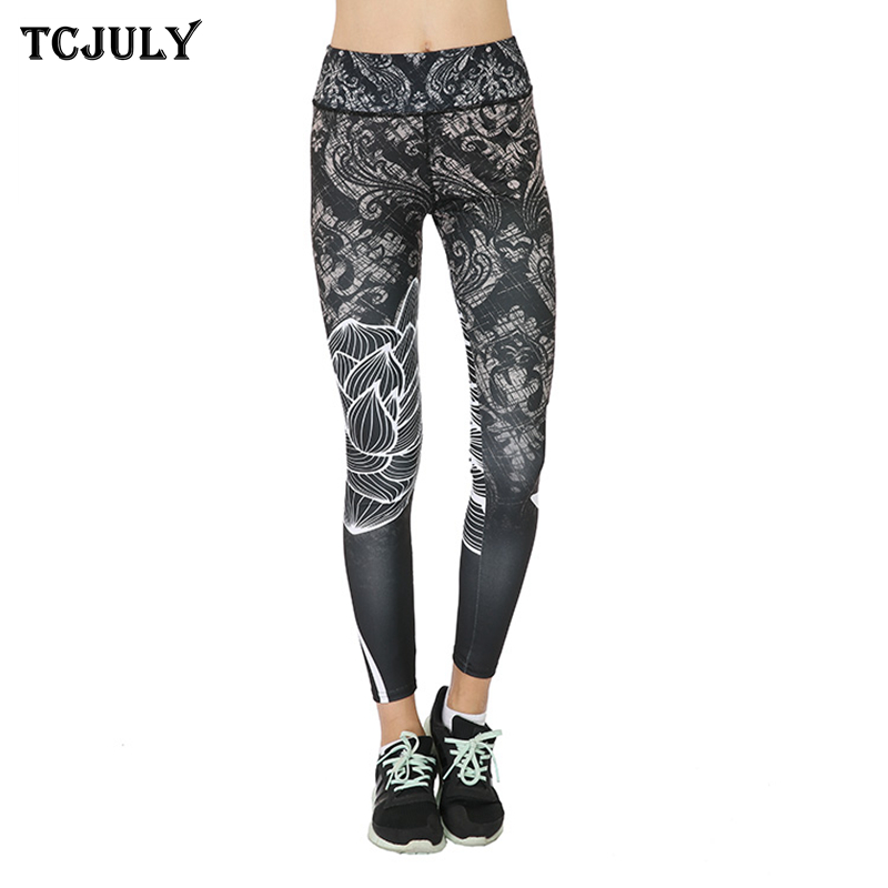 TCJULY Wholesale Lotus Flower Printed Leggings For Fitness ...