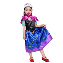 Childrens Day New Ice Romance and Snow Girl Queen Aisha Anna Princess Skirt Performance Costume