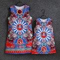 Летняя школа большие девочки Мультфильм печатных платье семья соответствующие наряды формальное рукавов мама детские ребенка мать и дочь платья