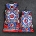 Summer school big girls Cartoon printed dress family matching outfits formal sleeveless mom baby kid mother and daughter dresses