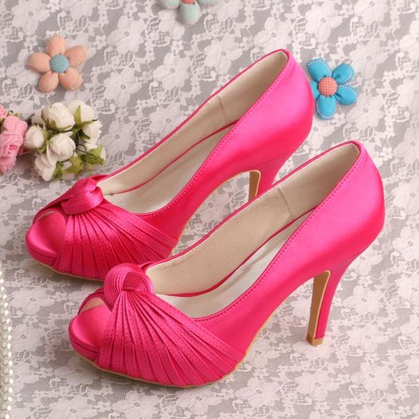 Wedopus Brand Satin Bridal Shoes Wedding Fuchisa For Women